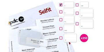 Selfit Single Line-insteekkaartjes, 70 x 12 mm, wit, 250 insteekkaartjes