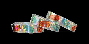 Holografische polsbandjes, 19mm, diamant metallic patroon, met digitale kleuren afdruk