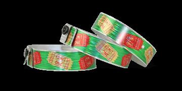 Holografische polsbandjes, 19mm, gestreepte metallic patroon, met digitale kleuren afdruk