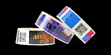 barcode polsbandjes met full colour digitale afdruk, TVS 25 mm (glanzend afwerking)